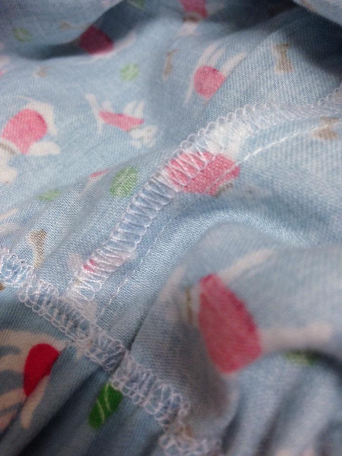detail of overlocked seams