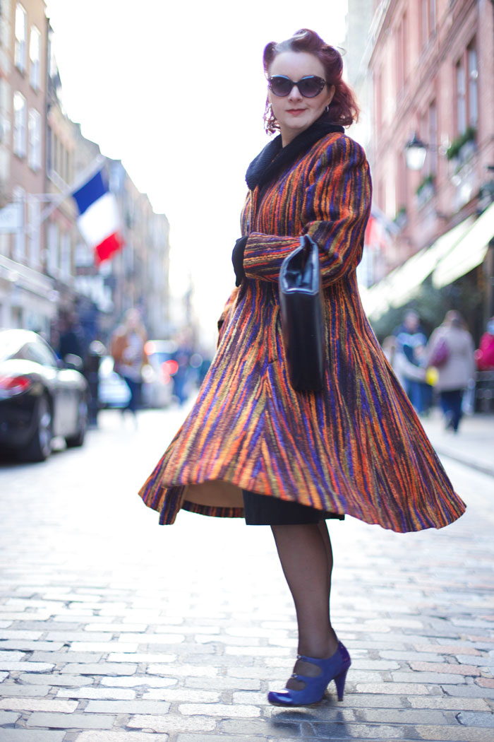twirling vintage coat