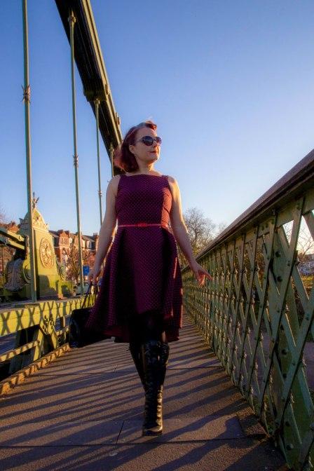 flora dress on Hammersmith Bridge
